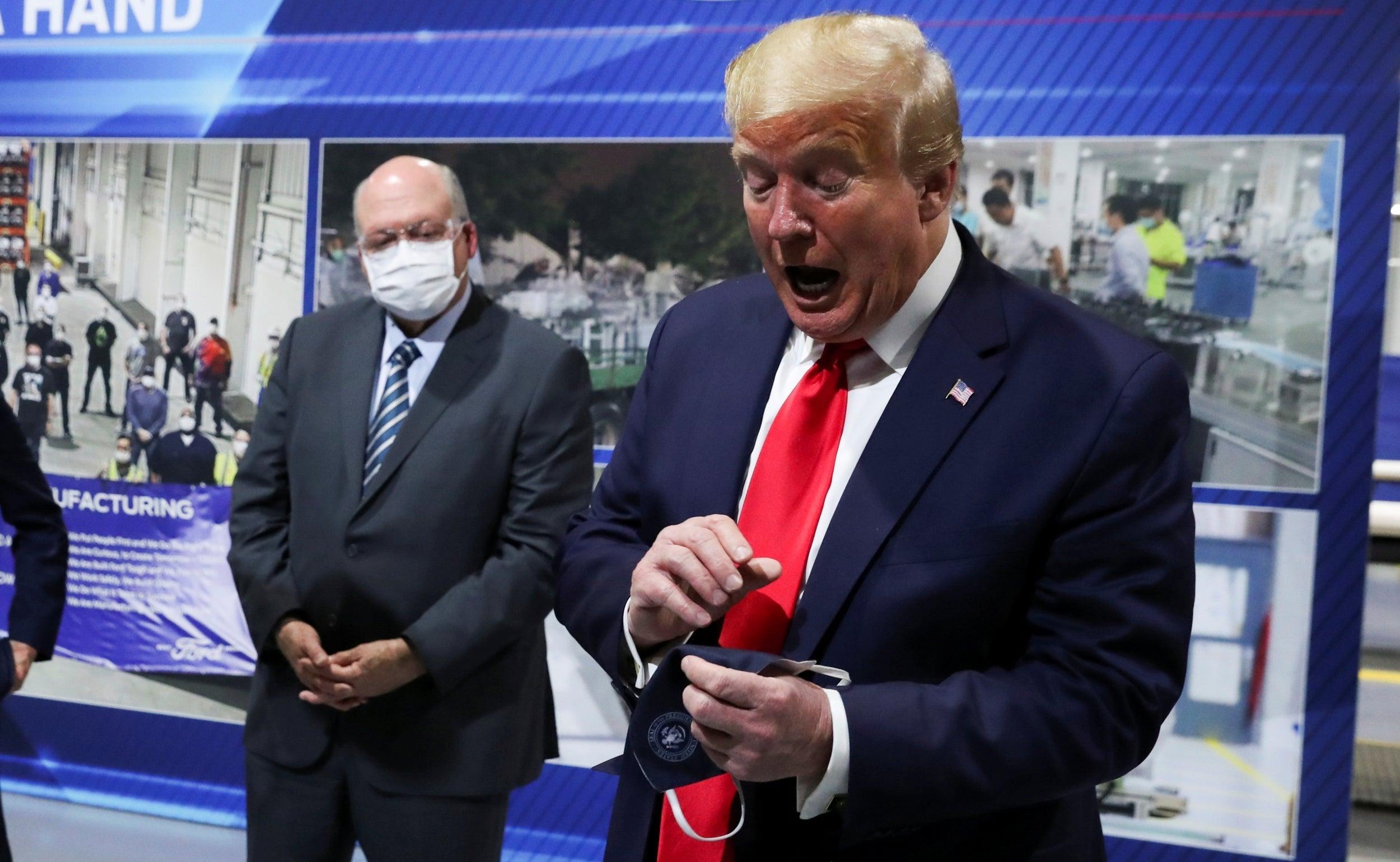 Maskless Trump Tours Michigan Ford Plant 1