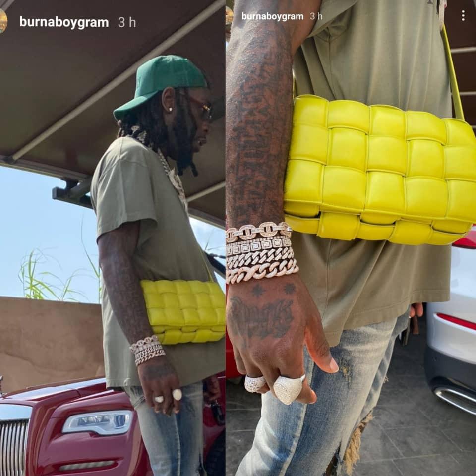 Burna Boy steps out rocking a Bottega Veneta bag (photos). 1