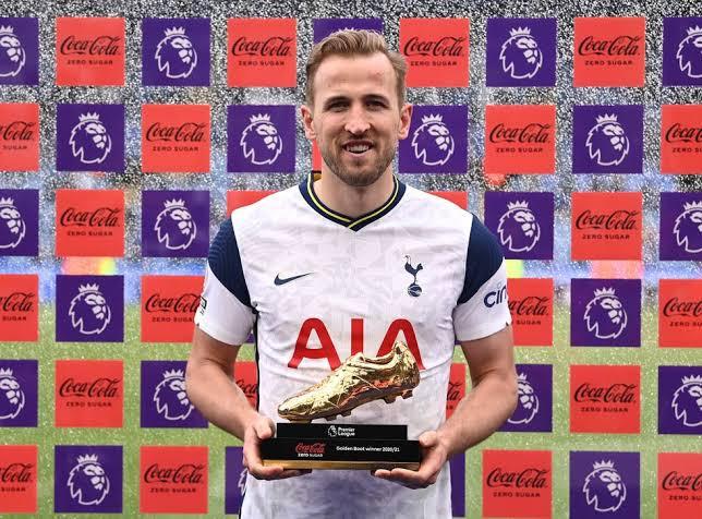 Harry Kane wins the Premier League Golden Boot matching Alan Shearer's record. 46