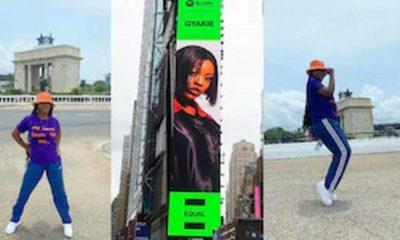 Massive reaction as billboard of Gyakie appears in New York City. 58