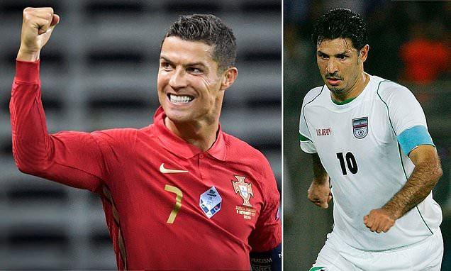 Iranian Football Legend, Ali Daei congratulates Cristiano Ronaldo after the Portugal star equals his goal record. 46