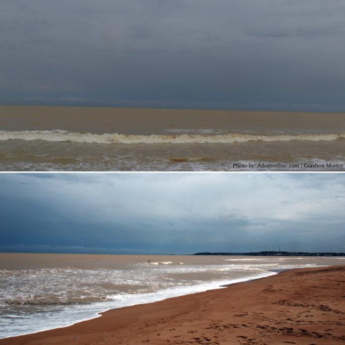 Galamsey: Where River Pra meets the sea at Shama; sea colour now brown (Exclusive Photos). 47