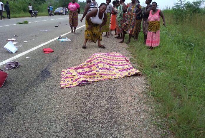 E/R: Car crushes woman to death near Suhum. 46